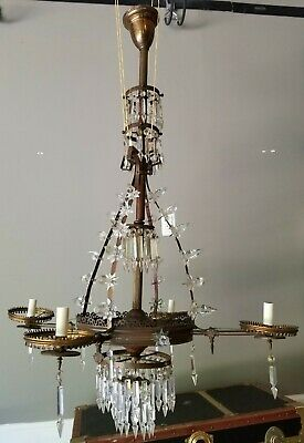 Antique Victorian Gasolier Gas Chandelier Crystal Prisms, Brass Fixture American