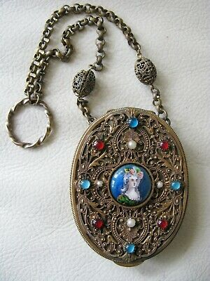 Antique Victorian Gold French Filigree Jewel Portrait Chatelaine Compact FRANCE
