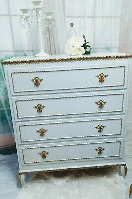 Painted French Louis XV Style Ornate Chest Of Drawers Cabriole Legs Shabby Chic