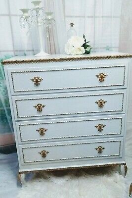 Vintage French Louis XV Style Ornate Chest Of Drawers Cabriole Legs Shabby Chic