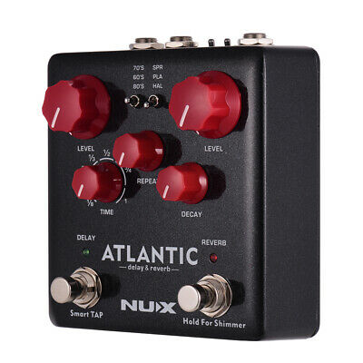 NUX ATLANTIC Delay & Reverb Guitar Effect Pedal Dual Footswitch True Bypass T4F4