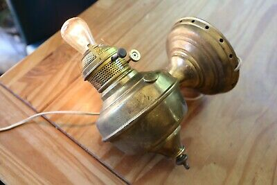 Vintage Wall Mount Brass Gas Converted Electric Parlor Sconce Lamp