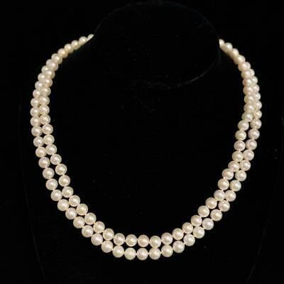 """Authentic Mikimoto Vintage 6.5 MM 17"""" Double Strand Akoya Pearl Necklace SFLA-14"""