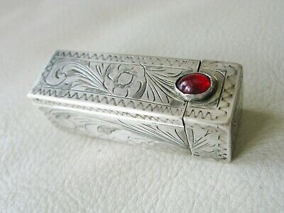 Antique Italian 800 Hand Engraved Silver Red Glass Jewel Lipstick Case ITALY #3