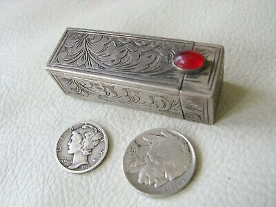 Antique Italian 800 Hand Engraved Silver Red Glass Jewel Lipstick Case ITALY #4