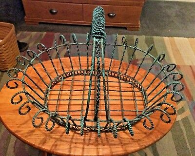 """Vintage Large Twisted Wrought Iron Mexican Basket 13"""" x 18""""  12"""" high"""