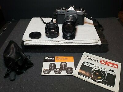 Vintage Pentax K1000 Asahi Camera With 50mm and 135mm Lenses Manual