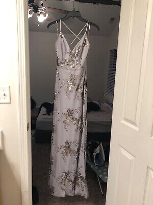 219b3515 Windsor Fashion Gray/ Blue Long Formal Dress with Sequin Detailing Size Sm