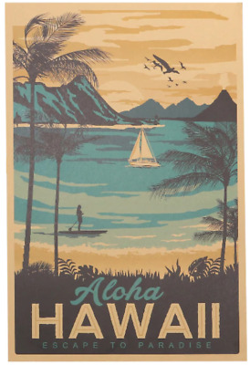 """42/"""" x 24/"""" LARGE WALL POSTER PRINT NEW. Sunset Sailboat in Paradise"""