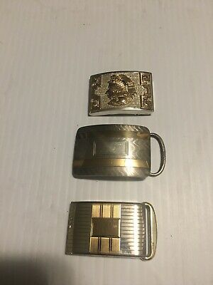 Lot Of 3 Vintage Sterling Silver And Gold Belt Buckles 14k And 10k Gold Awesome