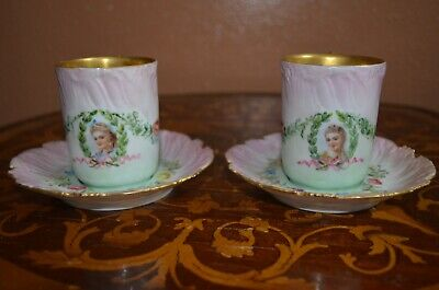 Early 1892-1907 Pair of Limoges Cups & Saucers Portrait Marked T&V France