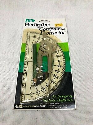 Vintage Pedigree Compass And Protractor Factory Sealed Nos