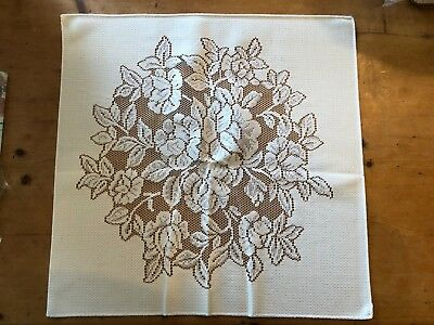 "BRAND NEW SQUARE ""FLOWERS"" WHITE 19.25"" x 19.25"" 100% POLY TRADITIONAL PLACEMAT"