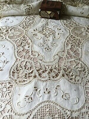 Vintage Antique Hand Embroidered Cutwork Bobbin Lace Linen Table Runner 20X 58in