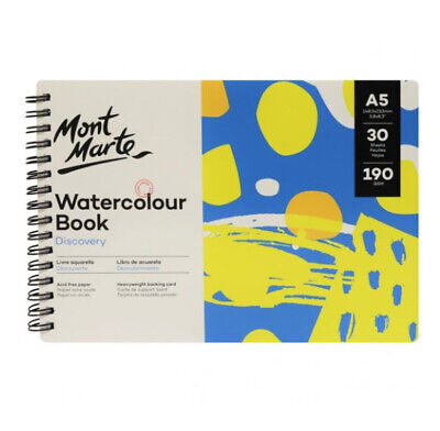 Mont Marte Discovery Watercolour Book Spiral Bound A5 190gsm