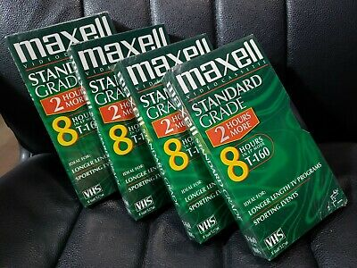 Maxell T160 VHS Tapes Set Of 4 SEALED New Video Cassette Tape 8 Hours T-160