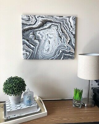 Original Acrylic Fluid Painting Art On Stretched Canvas with Marble Design