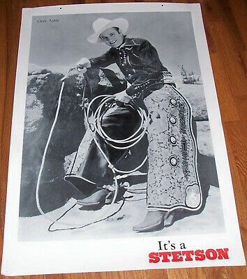 Gene Autry It's a Stetson Hat Store Advertising Poster Sign Old Western Print