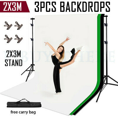 3 Backdrop 2x3m Stand Black White Green Photography Screen 2x3m Background Kit