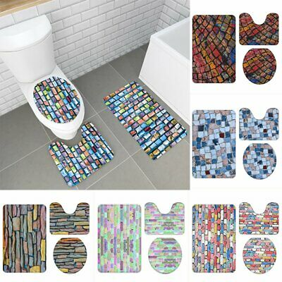 3Pcs Bathmats Set Stone Brick Non-Slip Bathroom Carpet Pedestal Rug Toilet Cover