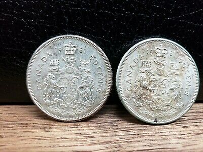 1961 Canadian Half Dollar 50 cent lot of 2 coins old coin B
