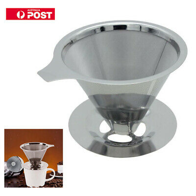 Newest Stainless Mesh Coffee Filter Cup Cone Pour Over Drip Dripper Maker Holder