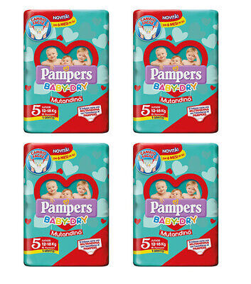 60 Couches Pampers Baby Dry Mutandino 4 Paquets Taille 5 Junior 12 - 18 KG