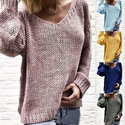 Women Pullover Loose Sweater Long Sleeve Baggy Cable Knitted Jumper Top Knitwear