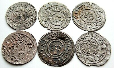 Lot Of 6 Medieval Hammered Silver Coins 16 Th Century Rare! #1