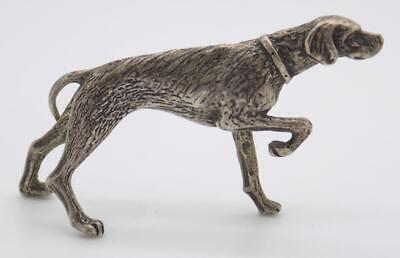 Vintage Solid Silver Italian Made Pointing Dog Figurine, Miniature, Stamped