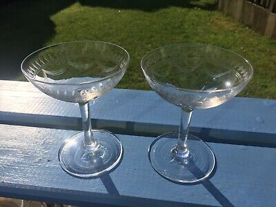 Pair Of Vintage Etched Swags Champagne Saucers Coupes
