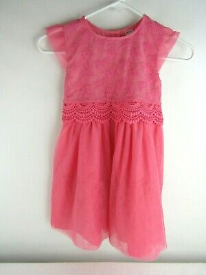 Carter's Girls Sz 6 Pink Coral Sleeveless Lace Overlay Dress Crochet Lace