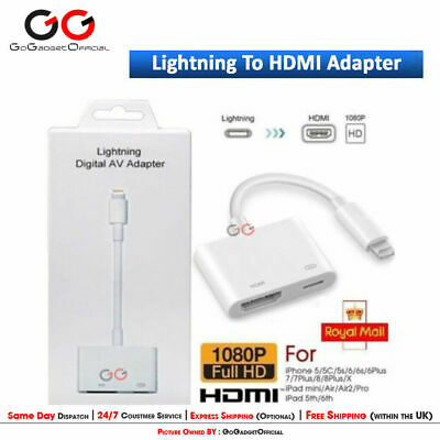 Lightning to HDMI Digital TV AV Adapter Cable Apple iPad iPhone X 6 7 8 Plus