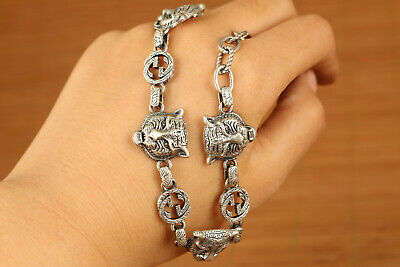 Rare 100% solid s925 silver hand carving tiger statue bracelet friend cool gift