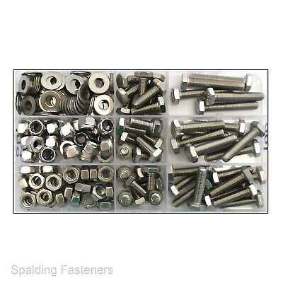"1/4"" Unf A2 Stainless Steel Assorted Fully Threaded Bolts Nuts And Washers"