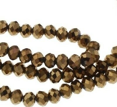 30 TSCHECHISCHE KRISTALL GLASPERLEN 4mm Fire-Polished Metallik Gold BEST X259