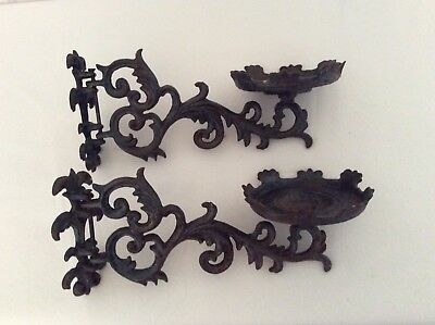 Vtg pair of rustic ornate wrought iron wall mount sconce pillar candle holders