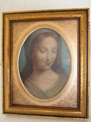 Heavenly Miniature Picture Portrait of Virgin Mary - The Madonna - Gilt Frame