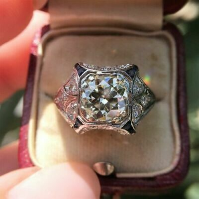 Vintage 1.5Ct Round Diamond 14k White Gold Over Antique Art Deco Engagement Ring
