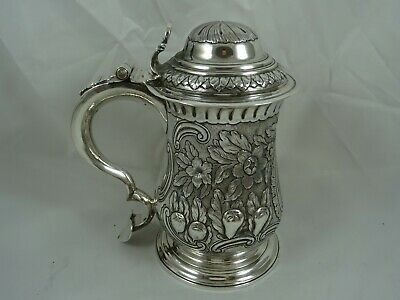 MAGNIFICENT, GEORGE III solid silver LIDDED TANKARD, 1760, 701gm