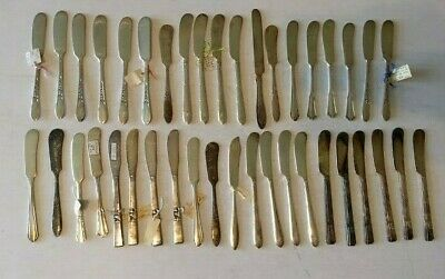 Lot of 40 Vintage/Antique Silverplate Flat Butter Knives/Spreaders