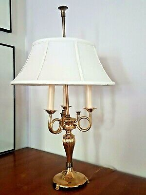 Vintage Brass Bouillotte Lamp 3 Arm, French Horn, Trumpet natural Shade