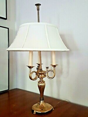 Antiques French Bouillotte Triple Horn Trumpet Solid Brass Table Lamp Made In France Lamps