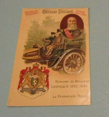 French Chocolate Poulain Leopold II Belgium Riding in Car Victorian Trade Card
