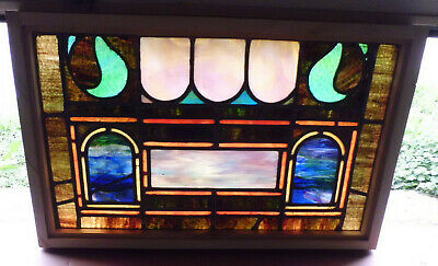 Antique Church Stained Glass Window Architectural Salvage Victorian W646