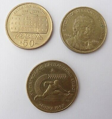 "3 Commemorative Coins From Greece, Dated 1994-1998, Inc 1997 ""Hurdler"" Example"