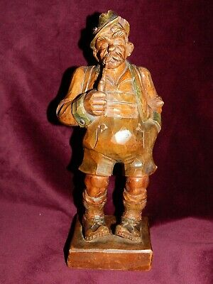 """Lge VINTAGE HAND-CARVED BLACK FOREST WOODEN  FIGURINE OF MOUNTAINEER ~ 9 3/4"""""""