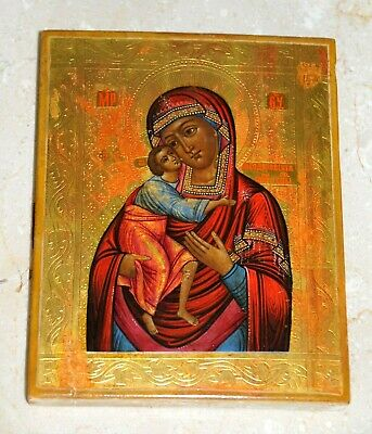 19c. RUSSIAN IMPERIAL ORTHODOX RELIGIOUS ICON MOTHER GOT EGG TEMPURA PAINTING