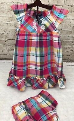4a683021538d CHAPS Baby Girl Infant Plaid Dress Bloomers Diaper Cover Set 18 Months