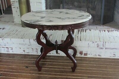 Vintage Carved Rose Mahogany Marble Top Sofa/Console/Hall Table #1894B